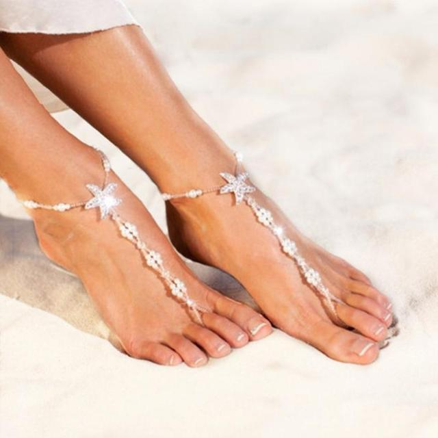 Sexy Starfish Anklets Beach Fashion Jewelry White Sea Star Barefoot Sandals  Beaded Chain Ankle Bridal Foot Jewelry-in Anklets from Jewelry    Accessories on ... 5e7fcac0c8ce
