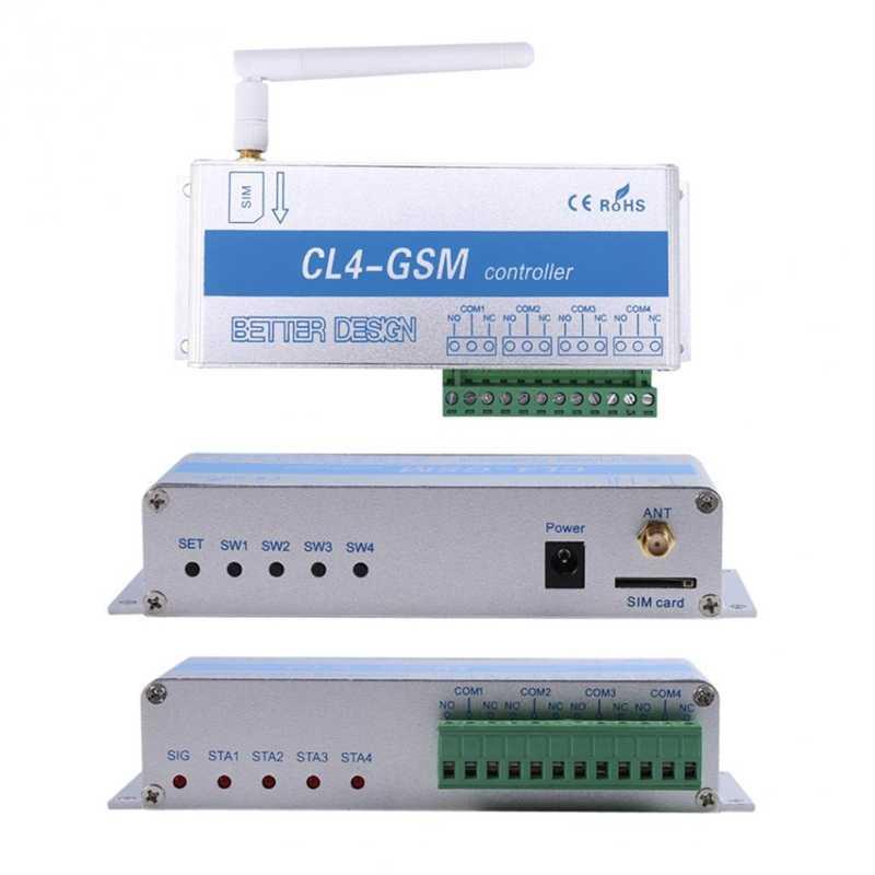 Cl4-Gsm ワイヤレスリモート制御リレースイッチ Sms スマートホームセキュリティシステムスイッチシルバー + ブルーアルミ合金 Eu プラグ