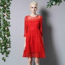 ผู้หญิง2016ฤดูใบไม้ร่วงออกแบบแฟชั่นรันเวย์เดรสยุโรปแฟชั่นชุดลูกไม้ปักขนาดบวกสีแดงพรรคชุดลำลองหญิง