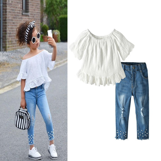 ddc192919e5 2019 streetwear clothes for girl   Off-shoulder tops + Jeans set   Sexy  clothes for girl   Jean with pearl
