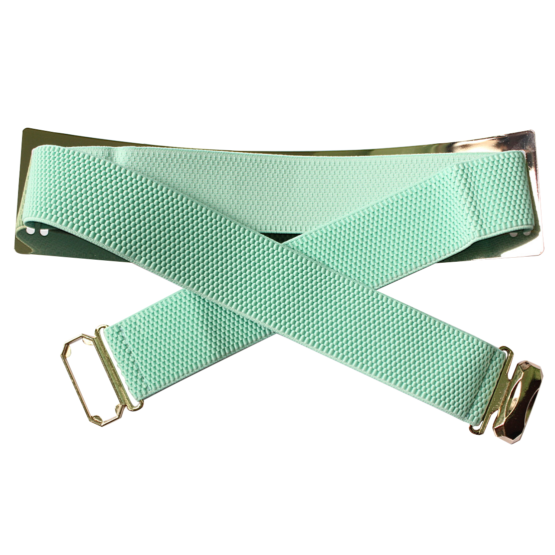 Light Blue Chic Metal Buckle Elastic Waist Belt For Women