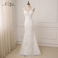 ADLN Cheap Bridal Dress Real Photo Sexy Cap Sleeve Applique Mermaid Wedding Dress Floor Length African