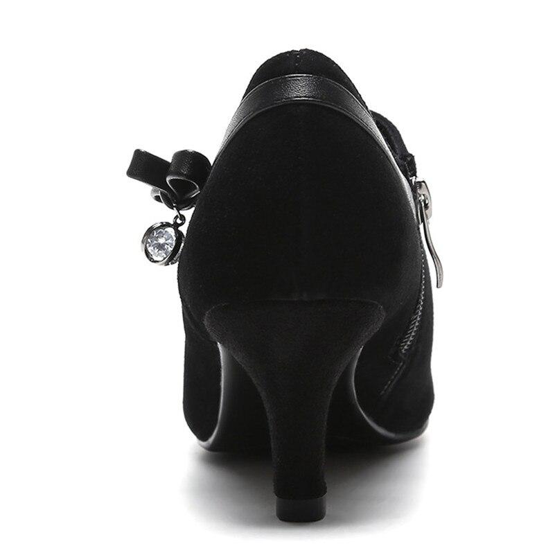 Pumpen Weibliche Büro Neue Spitz Schwarzes Zipper Schuhe Frau Frauen Club Schwarz Hochhackige Bowknot Sexy Nacht Conasco C6TUqtww