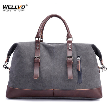 See More Canvas Leather Men Travel Bags Carry On Luggage Bag Patchwork Handbag  Duffel Bags Male Tote Large Weekend Bag Overnight XA2C 4799dbddc1d20