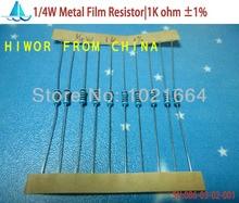 (1000pcs/lot)(Metal Film Resistors 0.25W) 1/4W Watt 0.25W 1% Metal Film Resistor 1k ohm A03(China (Mainland))