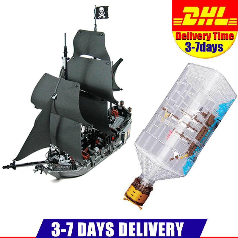 DHL LEPIN 16006 Pirates of the Caribbean The Black Pearl+16045  The Ship in the Bottle Set Building Blocks Bricks Toys Model 1513pcs pirates of the caribbean black pearl general dark ship 1313 model building blocks children boy toys compatible with lego