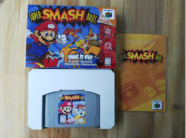 64 Bit Games** Super SmashedBros. ( USA Version!! box+manual+cartridge!! )