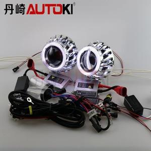 Free Shipping Double Angel Eyes HID Bixenon Projector Lens Kit LHD/RHD with 35W HID Ballast Xenon Lamp 4300K-8000K Car Light