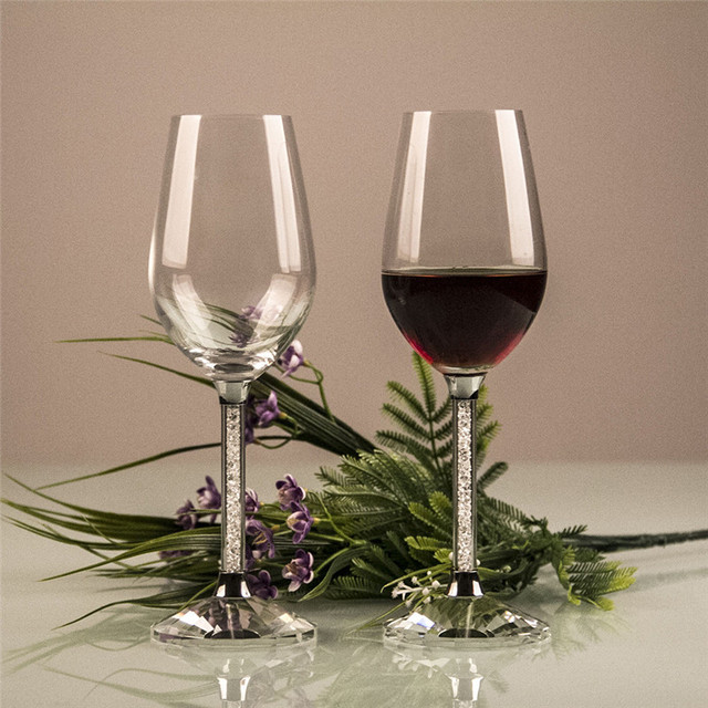 Us 15 9 20 Off Classic Wedding Wine Glass Cup With Rhinestone Filling Handle Gift Box Packing Wine Goblet Set Glassware Wedding Party Gifts F2 In