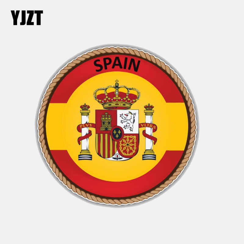 YJZT 12CM*12CM Car Styling Spain Flag Window Motorcycle Helmet Decal Car Sticker Accessories 6-3029