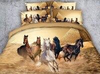Стеганое одеяло с лошадью наборы 3D постельное белье с животными одеяло пододеяльник кровать в сумке простыни постельное белье Cal King queen разм