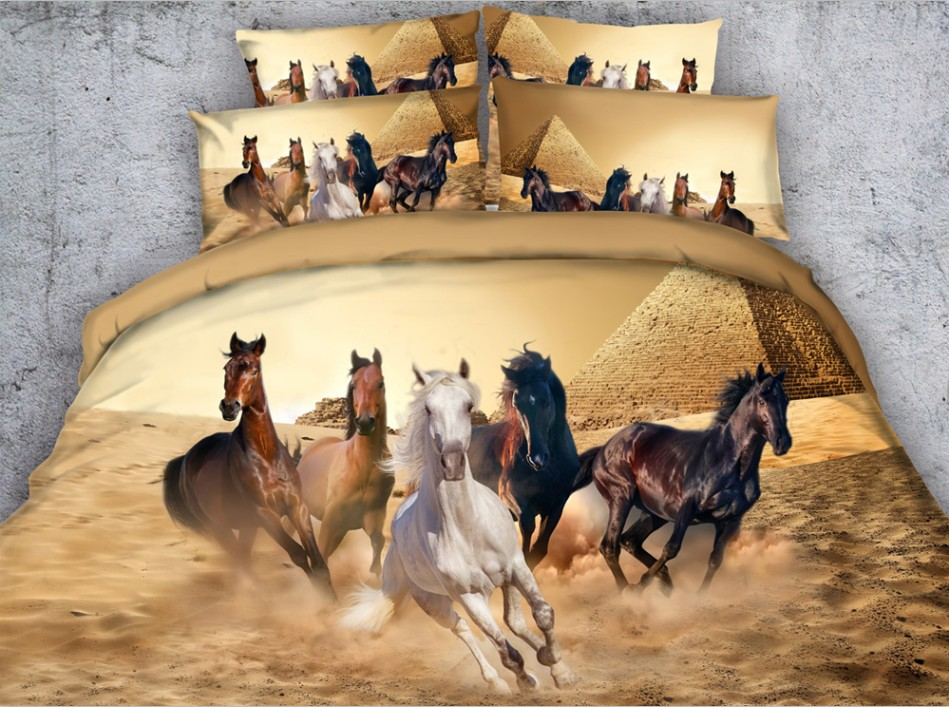 Horse Comforter sets 3D Animal Bedding quilt duvet cover bed in a bag sheets bedspread linens Cal King Queen size full twin 5PCS