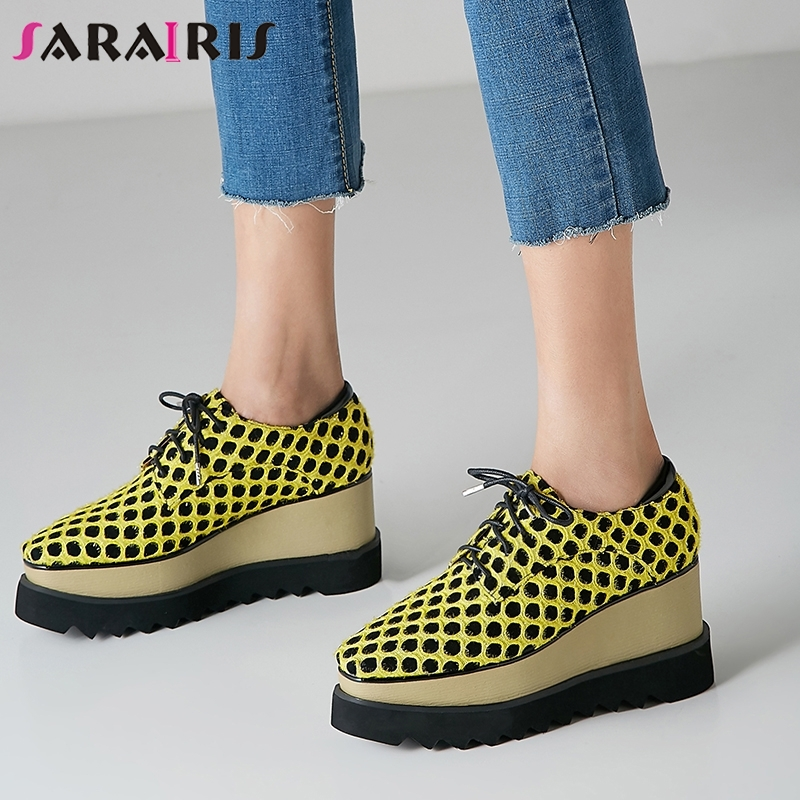 SARAIRIS New Arrival Polka Dot Sneakers Women 2019 Spring Genuine   Leather     Suede   Girl High Platform Shoes Woman Large Size 33-40