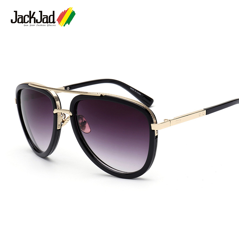 JackJad 2017 New Fashion Mach Two Half Metal Frame Aviator Style Sunglasses Vintage Men Brand Design Sun Glasses Oculos De Sol