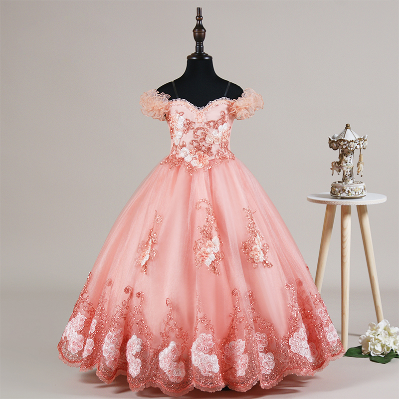 New Arrival Ball Gown Off The Shoulder Flower Girls Dresses Kids Dress for Birthday Party Princess Dresses Kids Girl Dress AA276 free shipping 2 12 years one shoulder kids party dress 2018 new arrival pageant ball gown for girls flower girl dresses factory