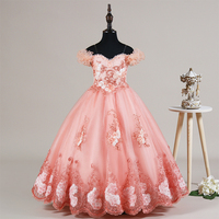 New Arrival Ball Gown Off The Shoulder Flower Girls Dresses Kids Dress for Birthday Party Princess Dresses Kids Girl Dress AA276