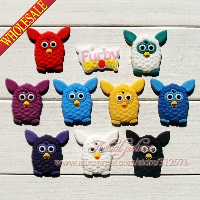 100Pcs  Furby  Boom PVC shoe accessories/shoe charms For Silicone Wristbands&shoes with holes,shoe buckle,fit for kids