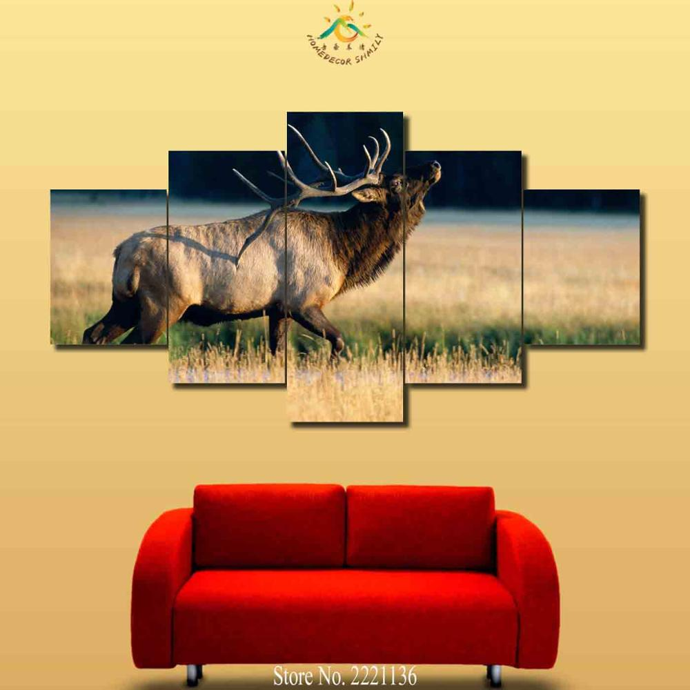 3-4-5 Pieces Moose In the rice fields Modern Wall Art Canvas Printed Painting Modular Poster Wall Pictures for Home Decor