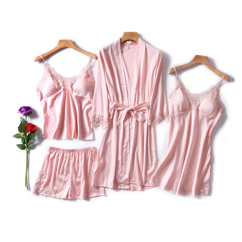 Pajama     sets   4 Piece Sexy   Pajamas     Set   Women Faux Silk Lace Sling Sleeveless Shirt Shorts Summer Robe Sleepwear With Chest Pads