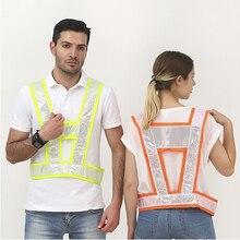 Новый бренд v-тип светоотражающий жилет унисекс высокая видимость открытый жилет безопасности для мужчин для бега велокросса занятия спортом рабочая одежда Самозащита