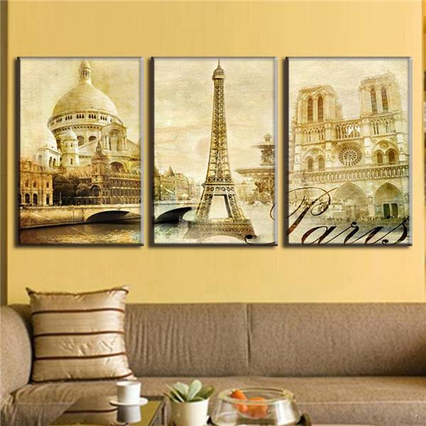 ᗔ2016 3 Pcs/Set Framed Oil Painting On Canvas Scenic Spot Of Paris ...