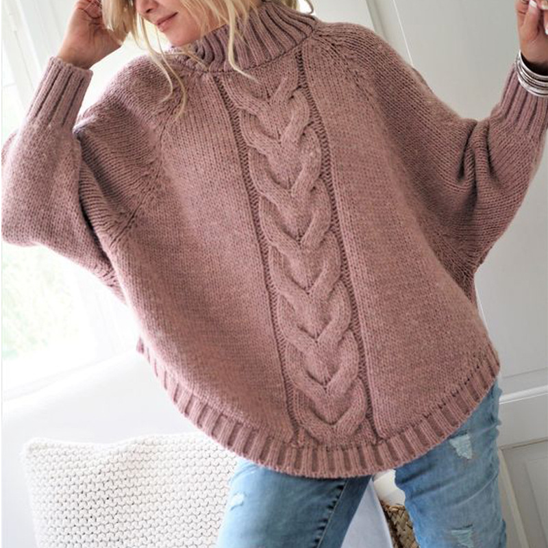 plus size knitted sweaters turtleneck pullovers computer knitted christmas sweater winter clothes women 2019 batwing sleeve in Pullovers from Women 39 s Clothing