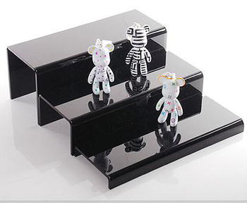 Set of three acrylic desktop U shaped display stand base jewelry cosmetic display rack shoes step holder miniature toy collect 5 tier desktop acrylic step display stand holder for small toys