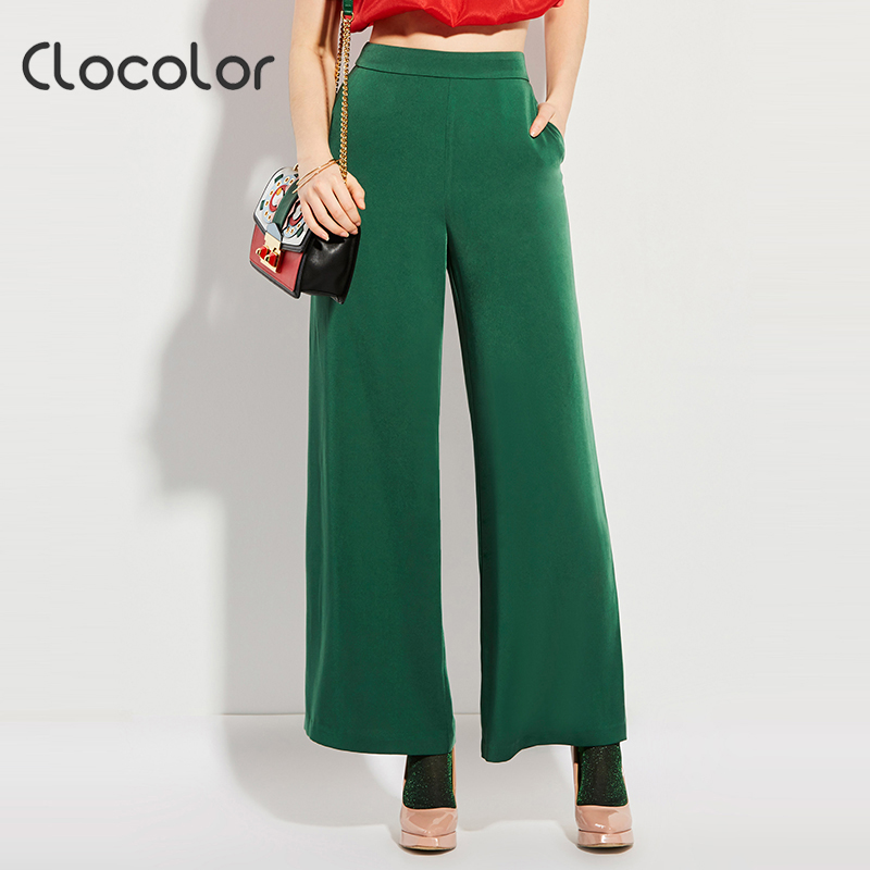 Clocolor women pants 2018 New Green Women Mid Waisted loose wide leg long fashion full pants Female Fashion Pants Women Pants
