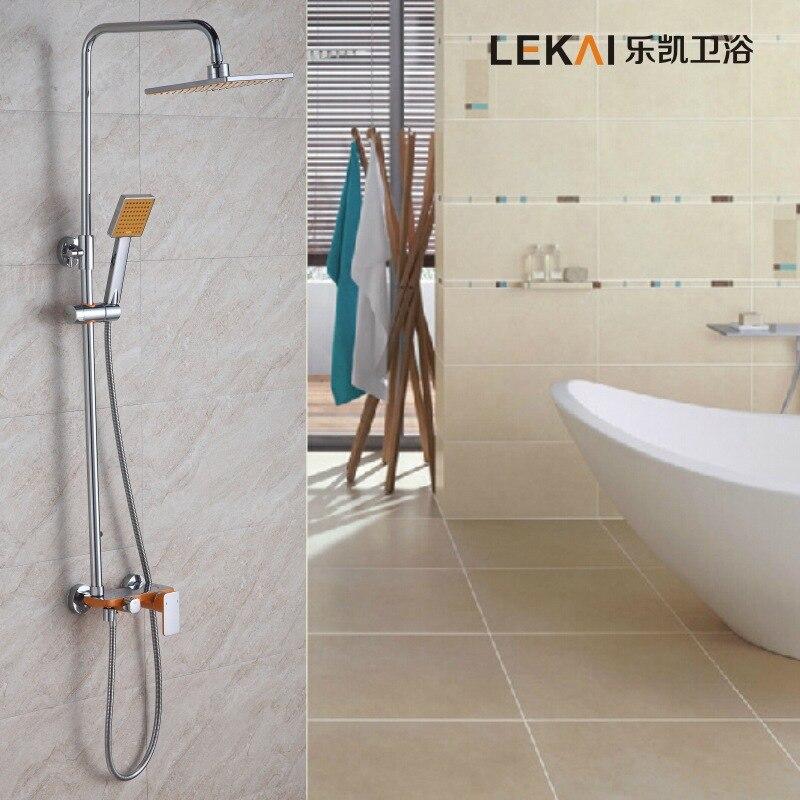 Dans le mur d'une poignée unique double contrôle douche ensemble de douche peinture plat troisième engrenage ascenseur douche ensembles en gros