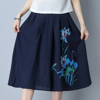 Spring Summer Vintage Cotton Linen Skirt Long Skirt Mid Waist Floral Printed Maxi Skirts Saias Longa