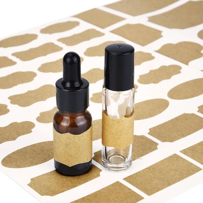 105pcs Fancy Kraft Paper Bottle Label Tape Essential Oil Perfume Essence Lotion Cosmetic Kraft Sticker Accessories