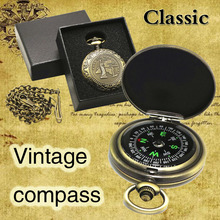 Vintage Gift Compass Pocket Watch Compass Outdoor Travel Mountaineering Camping Adventure Compass dqy 1 geology compass pocket transit metal compass