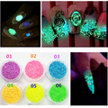 Christmas Decorations Nail Art DIY Glitter 7 Colors Luminous Drift Sand Glow in the Dark Pigment Powder Nail Glitter
