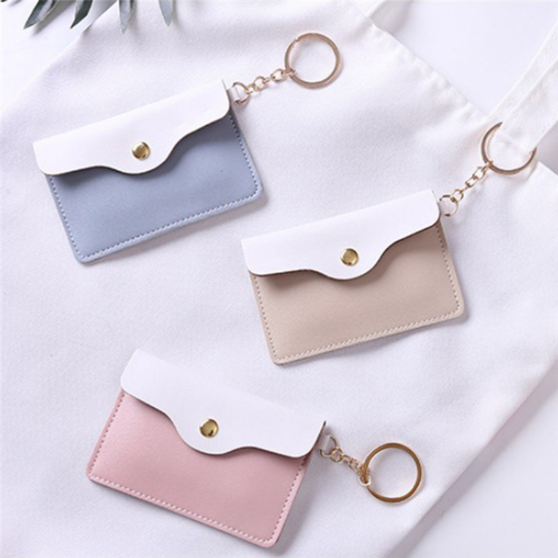 1Pc Women Girl Leather ID Card Holder Keychain Bags Badge Key Ring Wallet 4 Colors