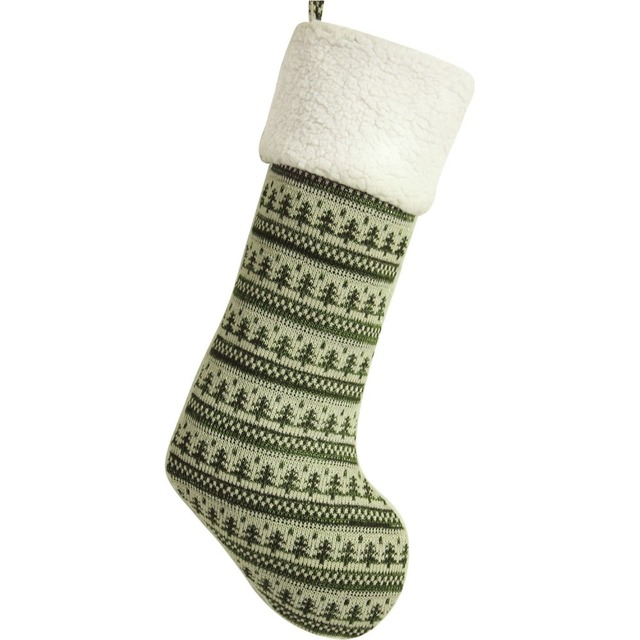 Knitted Christmas Tree With Metalic Insert Body Polar Fleece Cuff
