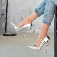 Silver unique women's heels Big Size US4 11 top quality Women Pumps shoes Silver Pointed Toe High Heels Sexy shoe heel women