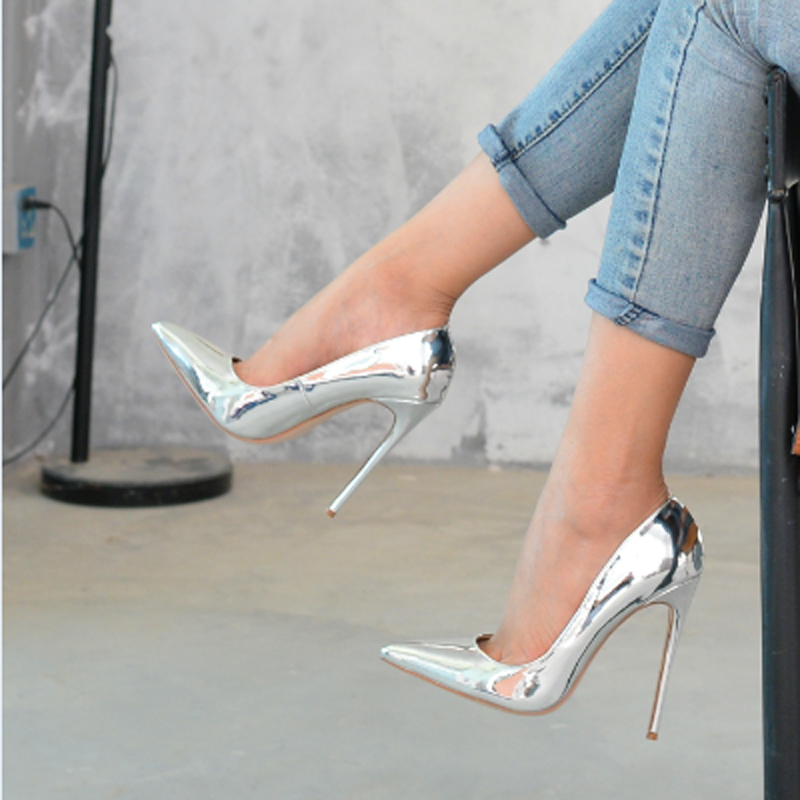 Top Quality Big Size 34-43 Women Pumps Silver Pointed Toe High Heels Sexy Thin Heels Zapatos Mujer Women Shoes apoepo brand 2017 zapatos mujer black and red shoes women peep toe pumps sexy high heels shoes women s platform pumps size 43