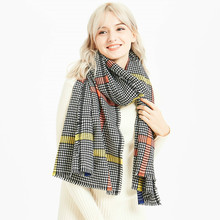 Plaid scarf winter women cashmere shawl poncho Imitation Cashmere scarfs luxury capes brand pashmina ladies scarves(China)