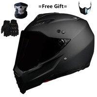 Companheiro preto duplo esporte fora da estrada moto rcycle capacete da bicicleta sujeira atv d.o.t certificado (m  azul) rosto cheio casco para moto esporte|Capacetes| |  -