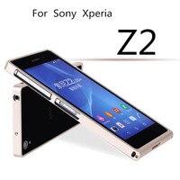 TX Z2 Tampon case Lüks Deluxe Ultra Ince alüminyum Metal Sony Xperia Z2 D6503 Için tampon Çerçeve kılıf Perakende Ile paket