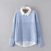 XUANCHURANWEN New Faux Two Piece Shirt Collar Sweater Long Sleeve 2017 Autumn Pullovers Women Hollow Out Knitwear YY51