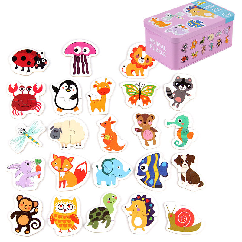 Enlightenment Educational Toys Infant Learning Toys For Kids Start Training Puzzle Card Fruit/Animal Set Pair Puzzle Baby Gift
