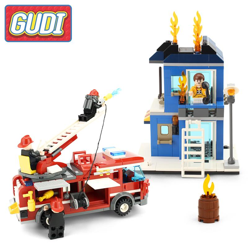 GUDI City Fire Emergency Truck Action Building Block Bricks Sets Model 431pcs Educational Toys For Children Learning Gifts wange city fire emergency truck action model building block sets bricks 567pcs classic educational toys gifts for children