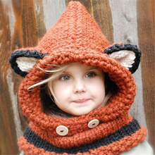 New 2015 Toddler Baby Girls Hat Winter Warm Neck Wrap Fox Scarf Caps Cute Hooded Scarf Earflap Knitted Caps Hotsale