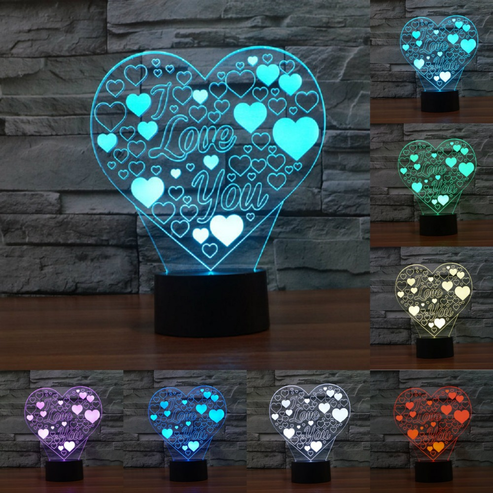USB Touch зарядки 3D светодиодный светильник сердце любовь Форма Романтический Праздник Красочные светодиодный ночник я люблю тебя Мёд Таблица ...