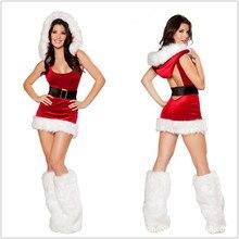 Cosplay Ropa de Navidad Nueva Backless Atractivo de Navidad Disfraces Fantasias Femininas Sexy Mini Vestido B-3813