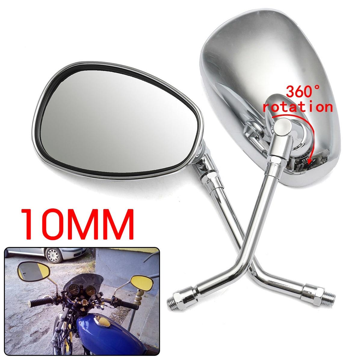 1 Pair 10mm Silver Motorcycle Motorbike Rearview Side Mirrors For Honda /Kawasaki /Suzuki