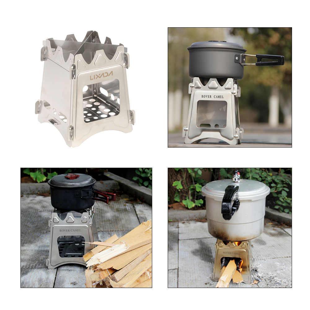 Lixada Titânio Fogão A Lenha Fogão A Lenha para Cozinhar Ao Ar Livre Camping Piquenique Mochila Dobrável Compacto Lenha Fogão A Lenha
