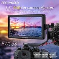 FEELWORLD FW568 5,5 дюймов 4 K DSLR камера полевой монитор IPS Full HD 1920x1080 Поддержка HDMI вход выход наклон Arm мощность выход