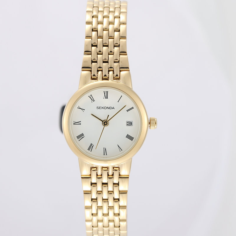 Famous Sekonda Women Luxury Quartz Watch Gold Watches With Date Stainless Steel Bangle Bracelet Ladies Woman Watch Roman Numeral